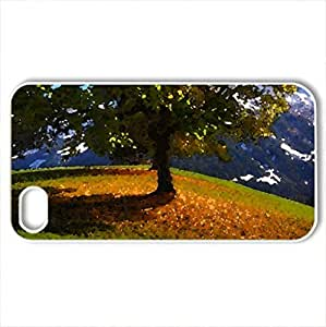 lintao diy Autumn - Case Cover for iPhone 4 and 4s (Mountains Series, Watercolor style, White)