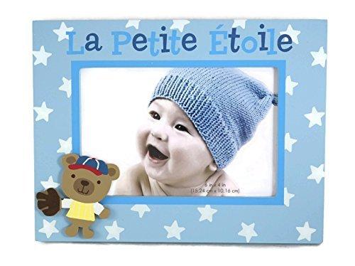 Baby Boy Blue Teddy Bear French Picture Frame - La Petite Etoile (Little Star) ()