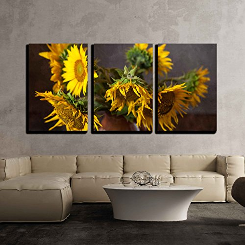 (wall26 - 3 Piece Canvas Wall Art - Still Life with Sunflowers on The Table - Modern Home Decor Stretched and Framed Ready to Hang - 24