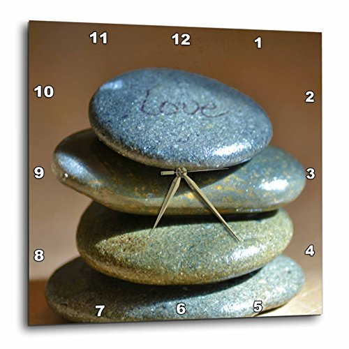 3dRose DPP_45294_1 Zen Rocks Love Inspirational Photography Wall Clock, 10 by 10-Inch
