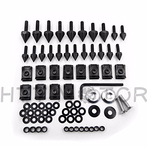 HTTMT MT215-015- Black Spike Fairing Bolts Kit Compatible with 1998-2002 Kawasaki Ninja Zx6 Zx6R ()