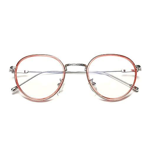 596e4d89ee GAMT Literary Retro Round Glasses Flat Mirror For Women Men Ultra Light  Eyewear Pink Frame