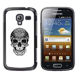 Be-Star Único Patrón Plástico Duro Fundas Cover Cubre Hard Case Cover Para Samsung Galaxy Ace 2 i8160 / Ace2 II XS7560M ( Biker Cool Skull Death White Black )