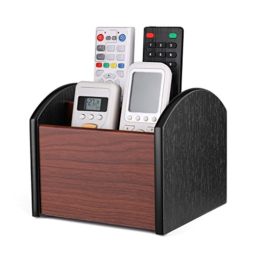 Flexzion Desk Organizer TV Remote Control Caddy - Wooden Desktop Office Supplies Storage Holder, Rotatable Revolving Spinning Cherry Brown Wood Tabletop Accessories Shelf Rack Container, 4 Compartment