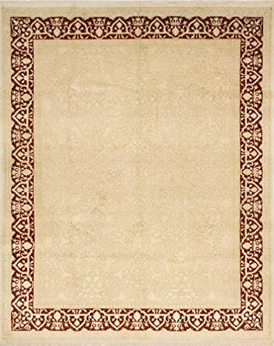 India House Burgundy Rectangle Rug - Noori Rug M1425 Fine Sultanabad Carter Area Rug, Ivory