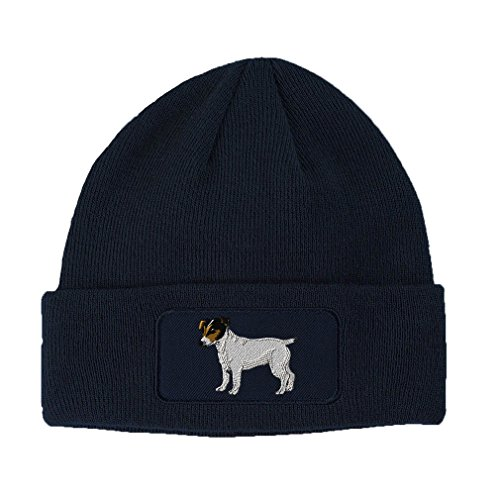 Jack Russell Terrier Embroidery (Jack Russell Terrier Dog #3 Embroidery Double Layer Acrylic Patch Beanie Navy)