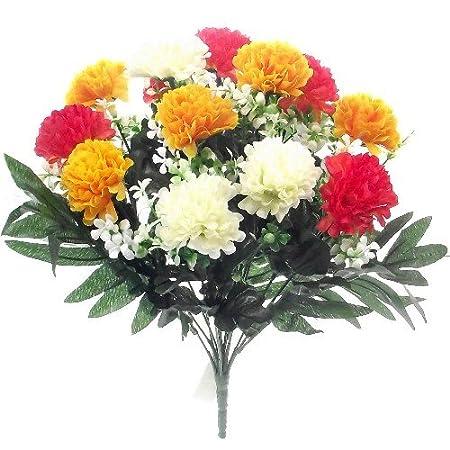 Mum Bush 36cm Artificial Silk Orange 14 Flower Heads Yellow /& Cream Spiky Chrysanthemum