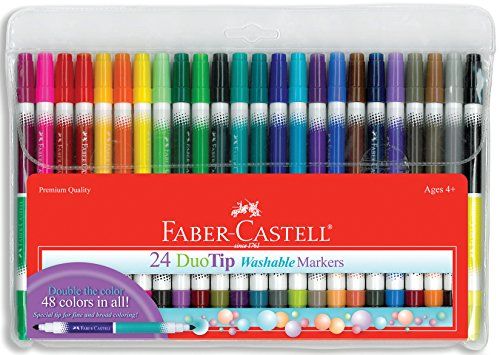Faber-Castell DuoTip Washable Markers - 24 Markers, 48 Colors (Faber Castell Connector Pen And Pencil Set)