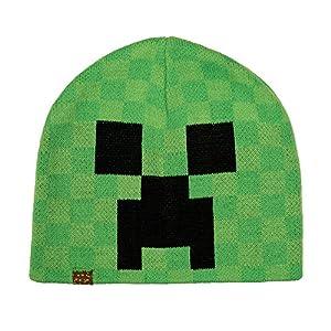JINX Minecraft Creeper Face Knit Beanie (Green, L/XL)