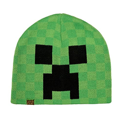JINX Minecraft Creeper Face Knit Beanie (Green, -