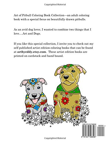 amazon com art of pitbull coloring book collection a coloring book for dog lovers 9781537598598 delacruz ed delacruz jamie books art of pitbull coloring book