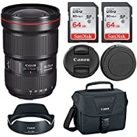 Canon EF 16-35mm f/2.8L III USM Lens with Two 64GB Cards and Professional Bundle