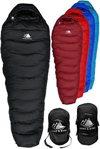 Hyke & Byke Snowmass 0 Degree Down Sleeping Bag for Backpacking, Ultralight Mummy Down Bag with Lightweight Compression Sack (Black, Regular) (Down Sleeping Bag Womens)