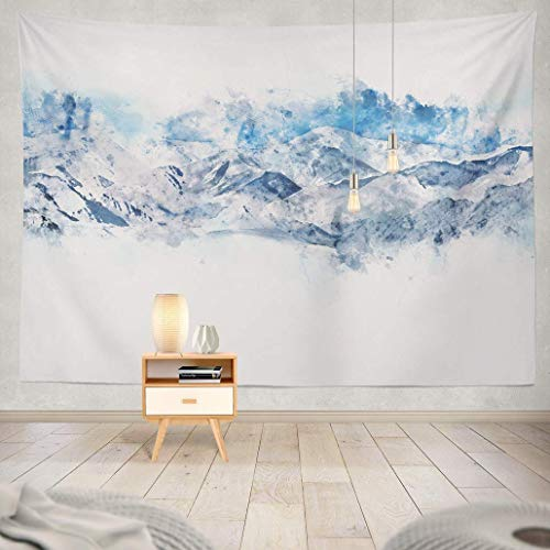 YGYURRI Tapestry Wall Art Mountains Landscape White Blue Shade Digital Watercolor Mountain Wall Hanging Adults Kids' Room Decor Wall Blanket Curtains Beach Towel 60