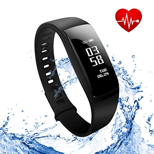 Fitness Tracker,Wireless Activity Tracker,Waterproof Smart Band Pedometer for Health Monitoring, Sports Tracking, Remote Self-Timer,Sleep Analysis etc (Black)