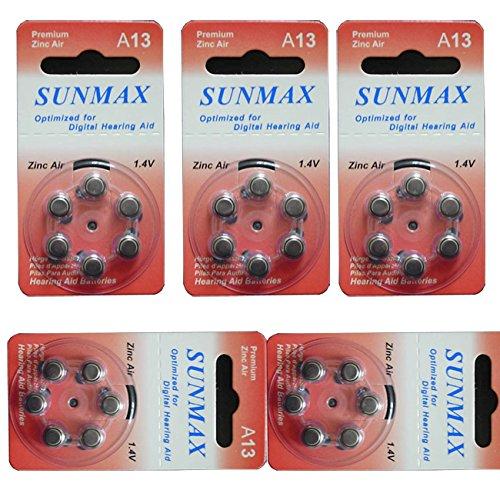 Sunmax 30 X Hearing Aid Batteries A13 13A Za13 13 Pr48 (Za13 Hearing Aid)