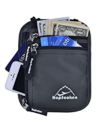 Hopsooken Travel Neck Pouch Passport Holder with Rfid Blocking, Use As Travel Wallet or Hidden Wallet - Protect Your Money, Passport, Credit Cards, Cell Phone and Documents,6 Pockets(New Gray)