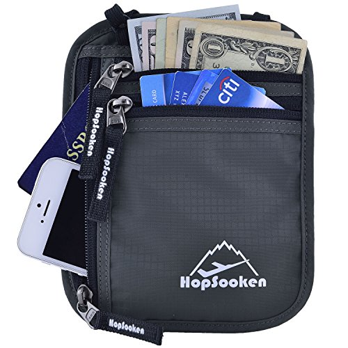 HOPSOOKEN Travel Neck Pouch Passport Holder with Rfid Blocking, Use As Travel Wallet or Hidden Wallet - Protect Your Money, Passport, Credit Cards, Cell Phone and Documents,6 Pockets (New Gray)