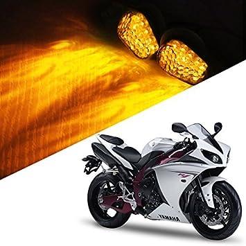 1 Pair Amber LED Flush Mount Smoke Turn Signal Indicator Blinker Light Universal for Motorcycle YAMAHA YZF R1 R6 R6S 2006-2009 Sport Street Racing Bike Tufeng