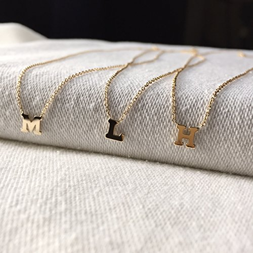 14k gold letter necklace by Zoe Lev Jewelry