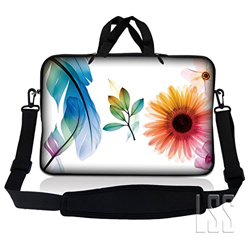 LSS 15.6 inch Laptop Sleeve Bag Compatible with Acer, Asus, Dell, HP, Sony, MacBook and more | Carrying Case Pouch w/ Handle & Adjustable Shoulder Strap,Daisy Flower Leaves Floral