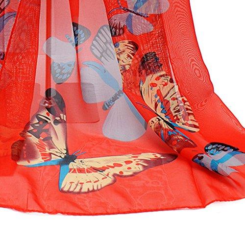 larga Aimee7 mujeres bufanda mariposa de gasa gargantilla de roja elegante impresa las vwvqB7rFX