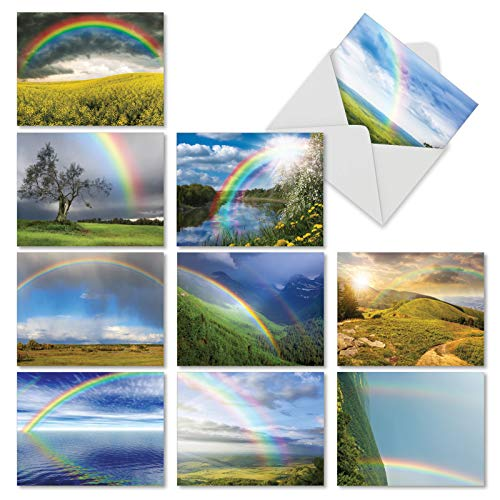 10 Note Cards with Envelopes - Assorted 'Rainbow Bright' Blank Greeting Cards - Beautiful All-Occasion Cards for Birthday, Thank You, Congrats - Stationery Notecards 4 x 5.12 inch - - Showcase Sided Panel