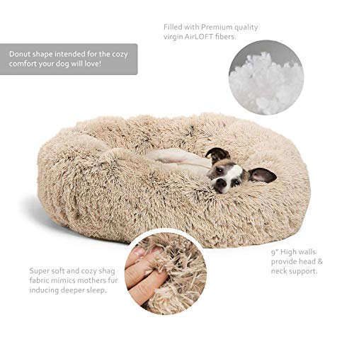 Best Friends by Sheri DNT-SHG-TAU-2323-VP Luxury Shag Fuax Fur Donut Cuddler (Multiple Sizes) - Cat and Dog B23 x23, Taupe