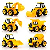 QUN FENG STEM Construction Trucks Toys 2 Set of Engineering Car Truck Series DIY Construction Vehicles Educational Building Toys for Kids and Toddlers