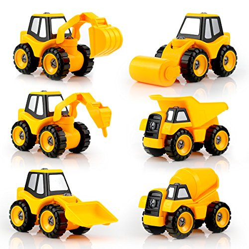 QUN FENG Take Apart Construction Trucks Assembly Toys 6 in 2 Set of Engineering Car Truck Series STEM Educational DIY Building Toys for 3 4 5 6 Ages Kids