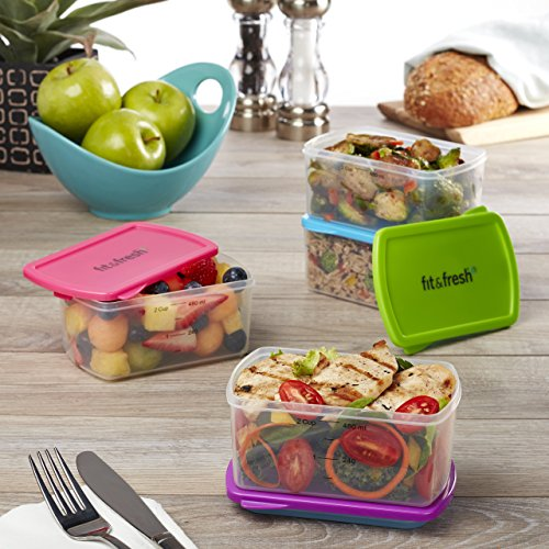Fit & Fresh 2-Cup Portion Control Container Set with Reusabl