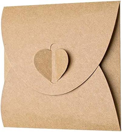 50 Stück Kraftpapier Briefumschläge, Heart-shaped, Postkarten Umschläge,Kreative retro niedlichen herzförmigen Umschlag, für Hochzeit, Geburtstagsfeier Geschenk liefert 17.5cmx11.5cm