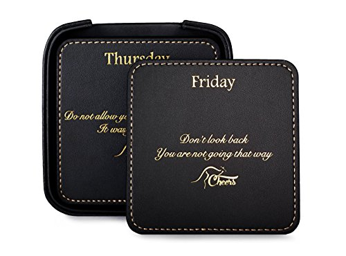 Square Black Leather Drink Coaster Set with Holder for the Home and Office, with 7 Inspirational Sayings (8 Pieces) Perfect Gift for Men and Women - Executive Coaster Set