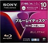 10 Sony 3D Bluray Rewritable Version 25GB BD-RE 2x Speed Printable Blu ray Sealed in Jewel Cases
