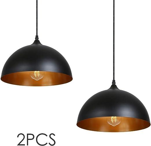 Oferta amazon: Lámpara de Techo Vintage, Tomshine 2 pack 3.94ft/1.2m Lámpara Colgante Retro de Metal,E27 Base de la Bombilla,Lámpara de Techo Industrial para Cocina Restaurante,Ø300mm