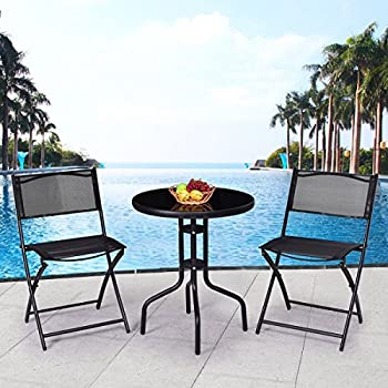 Giantex 3 Pcs Bistro Set Garden Backyard Round Table Folding Chairs, with Rust-Proof Steel Frames & Reinforced Glass Design Outdoor Patio Furniture, Black