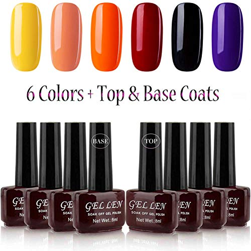 Gellen 6 Color + Top Coat Base Coat Gel Polish Kit, Halloween Special Kit Selected Colors, Ideal Home DIY Gel Manicure -