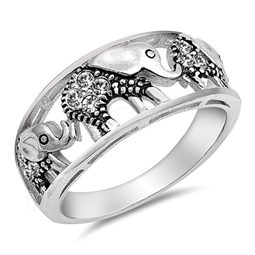 (White CZ Filigree Elephant Ring .925 Sterling Silver Bali Bead Band Size 6)