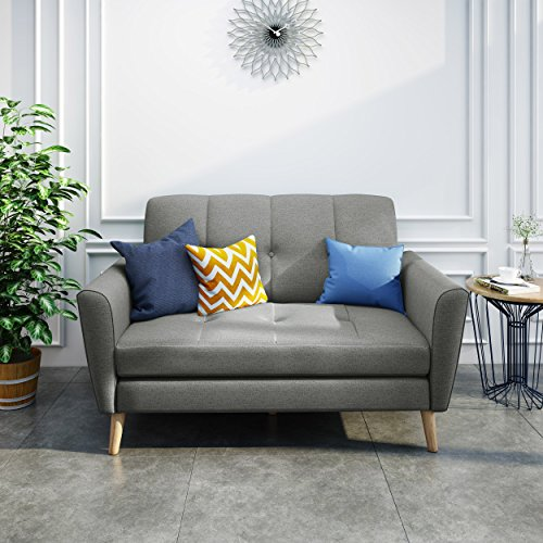 Great Deal Furniture 303686 Angelina Mid Century Grey Fabric Loveseat, Natural ()