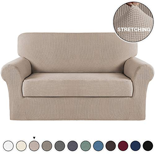 2 Piece Loveseat Slipcover Form Fit Stretch Sofa Slipcovers With Separate Cushion Furniture Protector Featuring Lightweight Twill Jacquard Spandex Fabric, Strapless Slipcover(Loveseat, Sand)