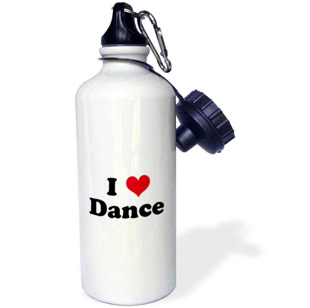 3dRose wb_16540_1 I Love Dance Sports Water Bottle, 21 oz, White