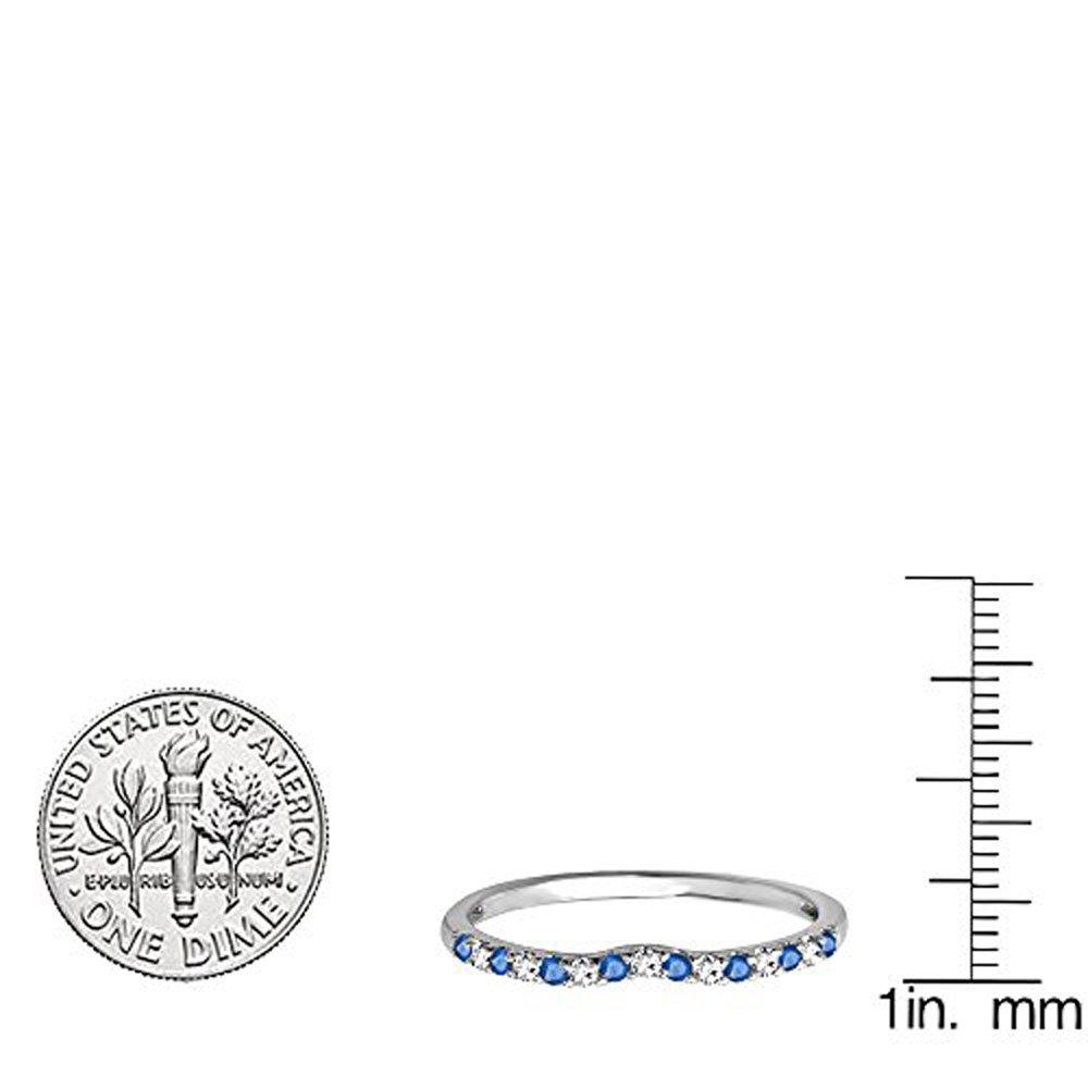 Dazzlingrock Collection 14K Round Blue Sapphire /& White Diamond Anniversary Wedding Ring Matching Band White Gold