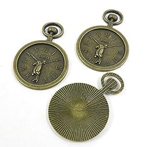 40 PCS Jewelry Making Charms Ancient Antique Bronze Fashion Jewelry Making Crafting Charms Findings Bulk for Bracelet Necklace Pendant A03009 Parrot Pocket Watch