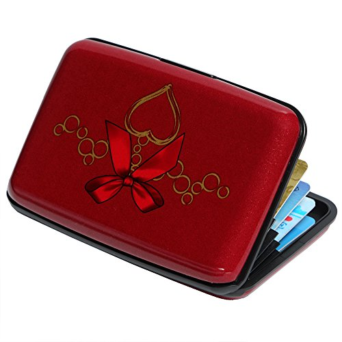 Credit Card Holder Aluminum Wallet RFID Blocking Slim Metal Hard Case (Ribbon Bow and Heart Pendant on Red Background)