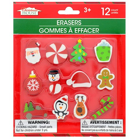 Figurines Pencil Santa (Christmas Themed Erasers, 12-ct. Pack)