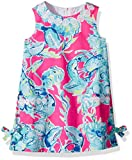 Lilly Pulitzer Little Girls' Classic Shift Dress, Razzle Berry Lobsters in Love, 4