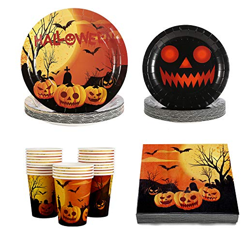 Halloween Plates Cups Napkin Disposable Tablerware Serve 25 for Halloween Pumpkin Party Supplies