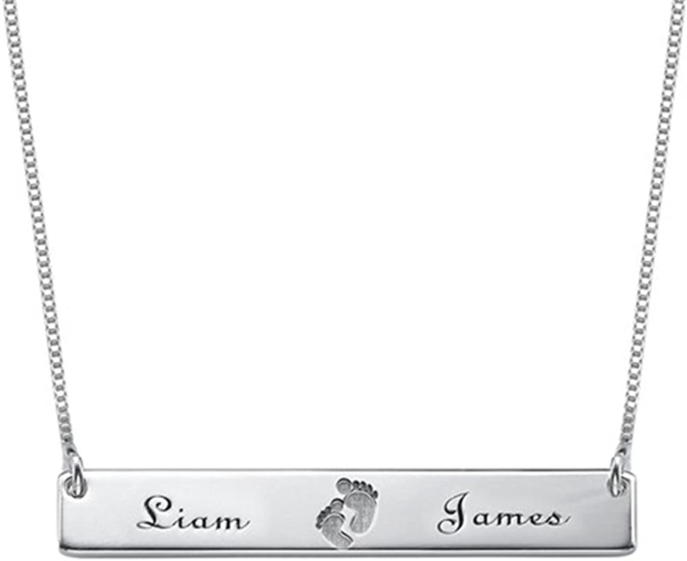 Personalized Name Necklace Custom Baby Necklace Pendant Footprint Bar Necklace with Engraving