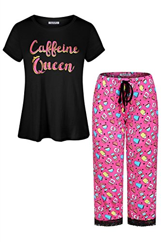 n Printed Short Sleeve Capri Pants Pajama Set Black Hot Pink S ()
