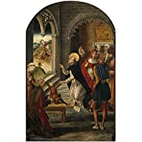 'Berruguete Pedro Auto de Fe presidido por Santo Domingo de Guzman 1493 99 ' oil painting, 12 x 19 inch / 30 x 47 cm ,printed on Perfect effect canvas ,this Imitations Art DecorativePrints on Canvas is perfectly suitalbe for Home Office gallery art and Home gallery art and Gifts